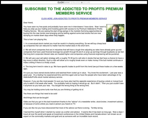 Dave Skarica's Addicted to Profits Premium Members Subscription