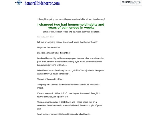 Hemorrhoids Horror Healed
