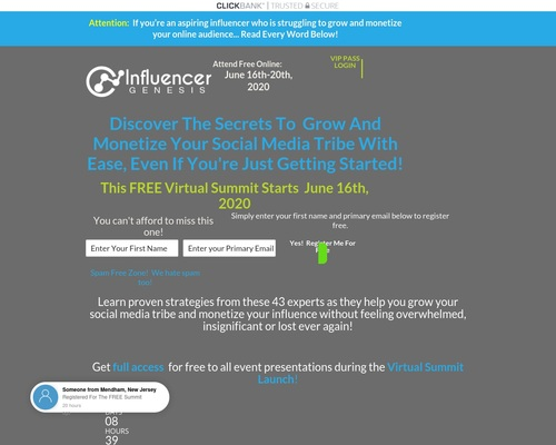 Influencer Genesis Summit | Register Free Now