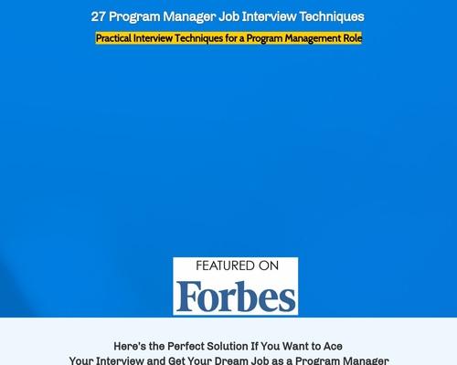 27 Program Manager Job Interview Techniques