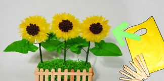 cara membuat bunga matahari  plastik kresek dan vas bunga | best out of waste idea