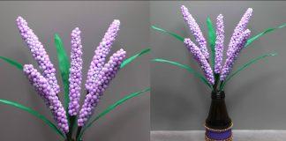 Bunga Lavender dari Bola Gabus dan Vas Botol Kaca | Thermocoal Ball Flowers | Foam Beds Flowers