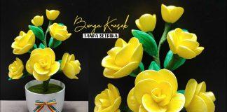 Ide Kreatif Bunga Mawar Kresek Tanpa Setrika | Plastic Shopping Bags Flower Craft DIY Ideas